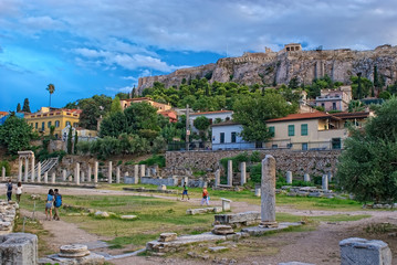 Athens, Greece - September,7 2014. Tourists visiting the Ancient