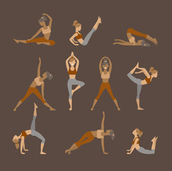 Colored yoga set icons isolated