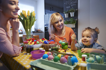 The day before Easter, we're painting eggs