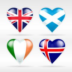 United Kingdom, Scotland, Ireland and Iceland heart flag set