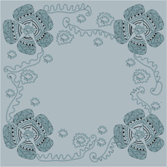 vector pattern frame with flowers on a green background