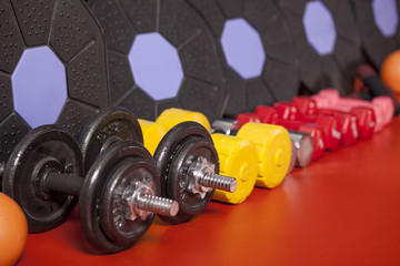 different weights on the floor in the fitness room