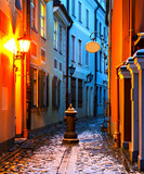 Narrow medieval street in the old Riga city