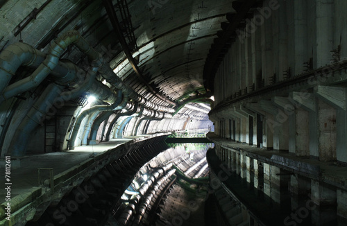 Staande foto Tunnel Abandoned soviet military base of submarines