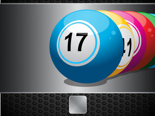 Bingo Balls on metallic panel and button