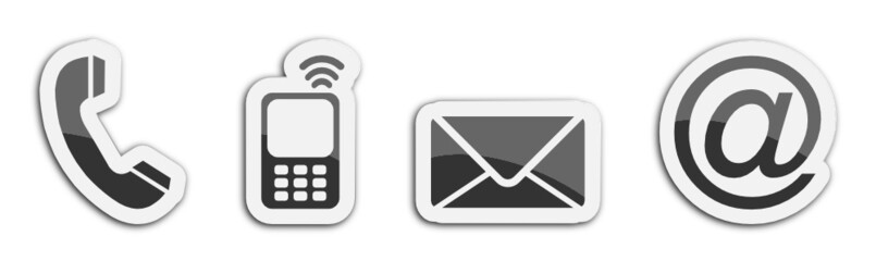 Four contacting sticker symbols in black