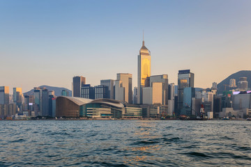 Hong Kong city skyline and view of Victoria Bay