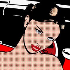 Portrait de la femme à la voiture