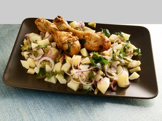 roasted chicken legs with vegetable salad