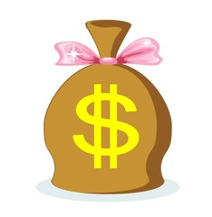 Sack of dollars with a pink bow, vector illustration