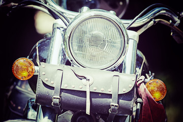 front view of a classic motorcycle in vintage tone