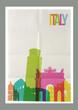 Travel Italy landmarks skyline vintage poster - 78117010