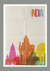 Travel India landmarks skyline vintage poster