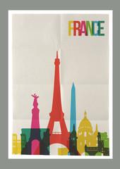 Travel France landmarks skyline vintage poster