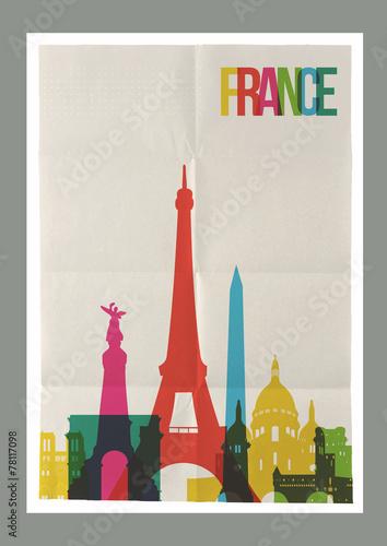 Travel France landmarks skyline vintage poster - 78117098