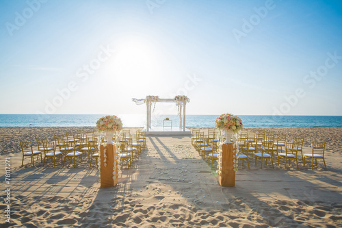 wedding set up on beach Photo by chachanit