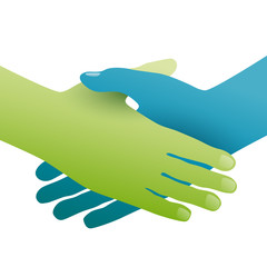 Handshake, concept of environmental friendship. Hands green and