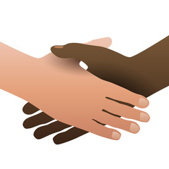 Handshake, concept of no apartheid. Hands black and white