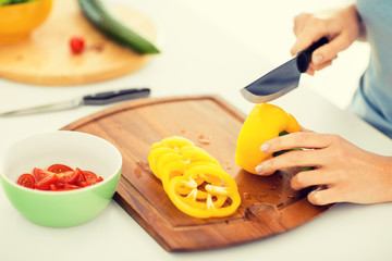 woman hands cutting vegetables