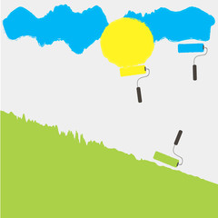 3 rollers draws sun yellow grass green sky blue