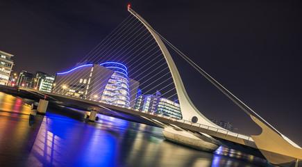 Samuel Beckett bridge in Dublin, Ireland at night