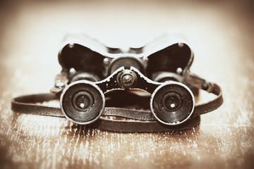 Military binoculars since World War II. Photos in retro style