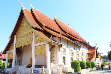 Ancient pagoda at Wat Chedi Luang temple 700 years in Chiangmai