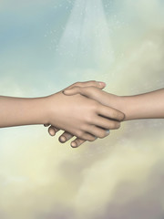 Two hands greeting each other