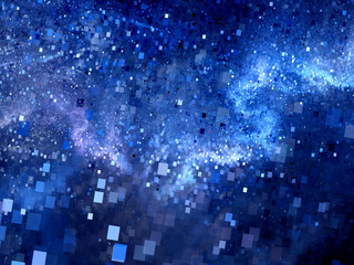 Blue glowing square shape particles in space