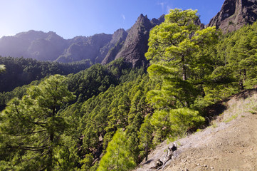National Park Caldera de Taburiente on the island La Palma, Cana