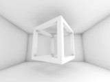 3d background illustration with flying empty beam cube - 78120418