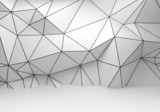 Abstract white 3d interior, polygonal wireframe wall