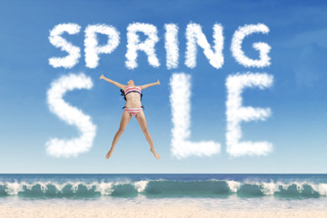 Sexy model forming spring sale text