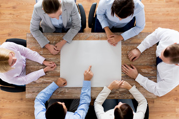 close up of business team with paper at table