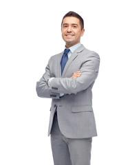 happy smiling businessman in suit