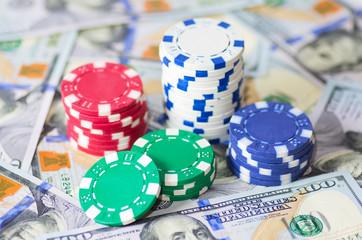 Gambling chips and dollars