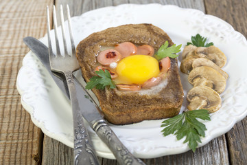 Plate with fried eggs.