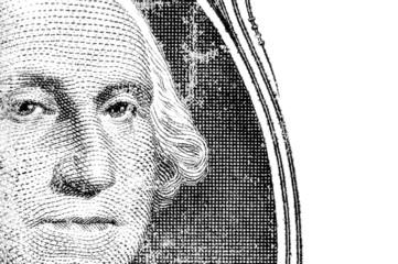 george washington dollar portrait on isolated white