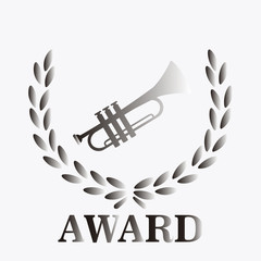 Silver Award to trumpet over degrade background