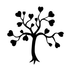 vector tree and heart