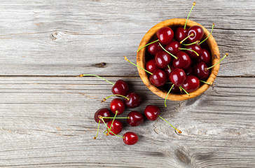 Sweet cherry, on wooden background