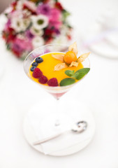 line dessert with fruits in glass