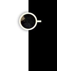 Kaffee auf schwarz-weißem Hintergrund