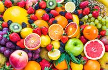 "Постер, картина, фотообои ""Mixed fruits.Fruits background.Healthy eating, dieting."""