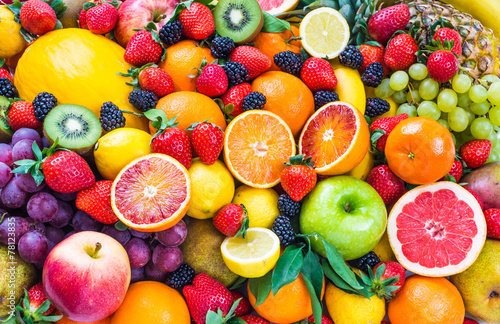 Foto op Canvas Vruchten Mixed fruits.Fruits background.Healthy eating, dieting.