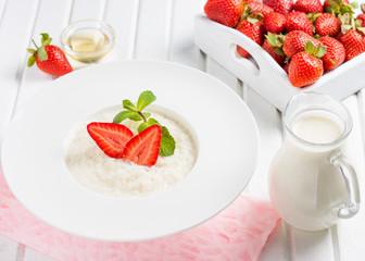 rice milk porridge with strawberries and mint