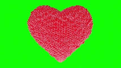Abstract red Heart on green