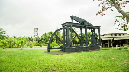 traditional mill at rum and sugar factory museum in mauritius
