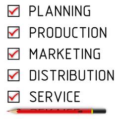 Planning, production, marketing, distribution, service