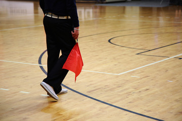Volleyball. The judge with red flag